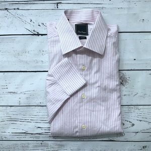 DAVID DONAHUE - Pink Trim Fit Stripe Dress Shirt